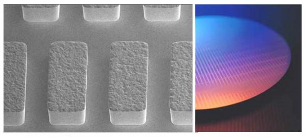 사진파일_(좌)비시안 금 도금액에 의한 웨이퍼 범프 형상 예, (우)액정 패널용 구동 IC의 웨이퍼